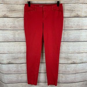 Old Navy Red Mid Rise Pixie Ankle Work Pant Size 6